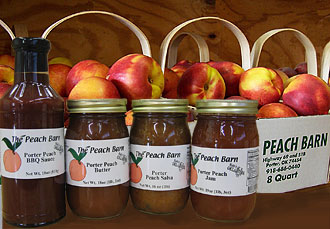 Porter Peach salsa, peach BBQ sauces, peach jam, peach butter, and fried peach pies are specialties at The Peach Barn & Orchard, Porter, Oklahoma